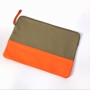 Gap   Beige and orange leather zippered clutch L